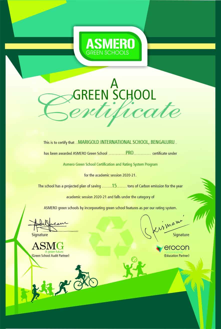 Marigold International School | Green School Certificate